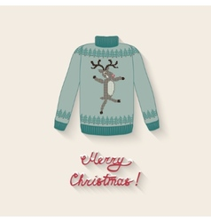 Cute sweater with christmas deer vector
