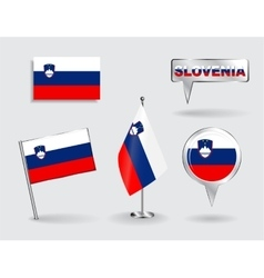 Set of slovenian pin icon and map pointer flags vector