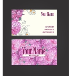 Beautiful floral business card vector