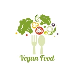 Vegetarian food symbol creative logo design vector