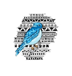 Blue bird on the ethnic background vector
