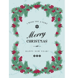 Vintage christmas frame with pine branches vector