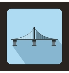 Bridge with steel supports icon flat style vector image