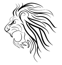 Graphic silhouette roaring lion vector