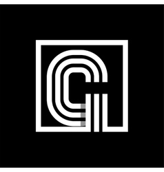 G capital letter made of stripes enclosed in a vector