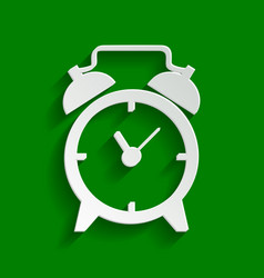Alarm clock sign paper whitish icon with vector
