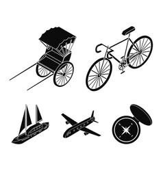 Bicycle rickshaw plane yachttransport set vector