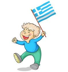 Boy holding flag of Greece vector image