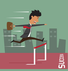 Businessman run with jumping over hurdle business vector