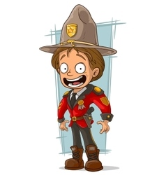 Cartoon canadian ranger in red uniform vector