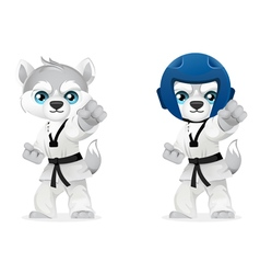 Cartoon husky martial arts vector