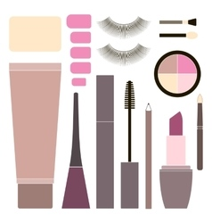 Collection of flat cosmetics vector