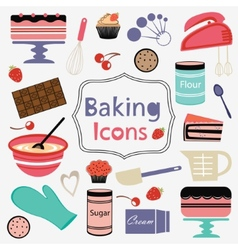 Colorful collection of baking items vector