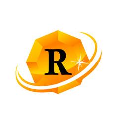 diamond swoosh initial r vector image vector image