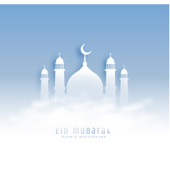 eid mubarak background with mosque and clouds vector image vector image