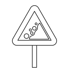 Falling rocks warning road sign icon outline style vector image