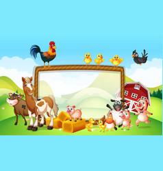 Frame design with farm animals vector