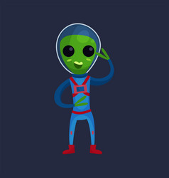 friendly smiling green alien with big eyes wearing vector image vector image