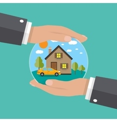 hands of agent protect house and car vector image vector image