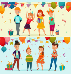 kids party banner set vector image vector image