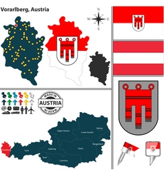 Map of Vorarlberg small vector image