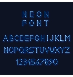 Neon light alphabet letters and number vector image