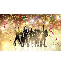 Party people on a confetti and streamers vector image