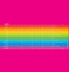 rainbow creative calendar 2018 mondays selected vector image vector image