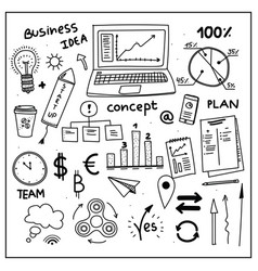 Set of business doodle elements hand drawn style vector