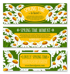 Spring banner set with springtime flowers vector
