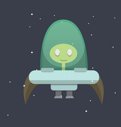 ufo spaceship cartoon vector image
