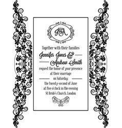 vintage baroque style wedding invitation card vector image