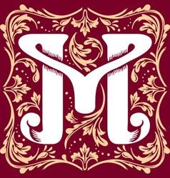 Vintage letter m vector