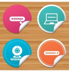 Webinar icons web camera and notebook pc signs vector