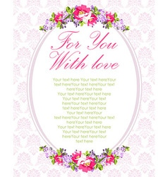 Wedding Card with lilac flowers and rose hips vector image vector image