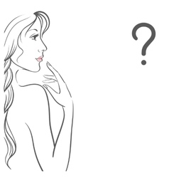 Young woman with question vector