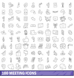 100 meeting icons set outline style vector
