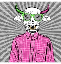 Hand drawn fashion of dressed up bull vector