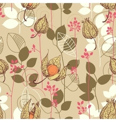 Fall pattern Fruits and leaves in autumn colors vector image