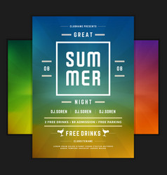 Retro summer party design poster or flyer on vector