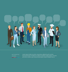 People crowd with speech bubbles vector