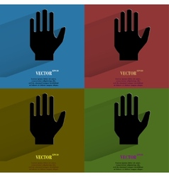 Color set stop hand flat modern web button with vector