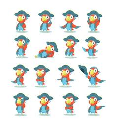 set parrot vector image