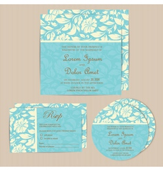 Wedding cards set blue vector