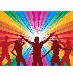 Rainbow starburst and dancers vector