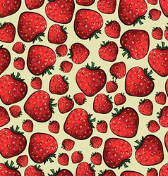 Pattern with strawberries on a yellow background vector