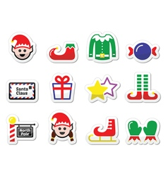 Elf christmas label set vector