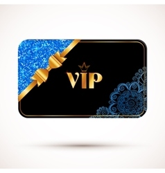 Black vip card template with blue glitter vector