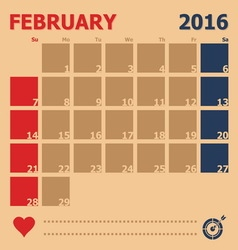February 2016 monthly calendar template vector