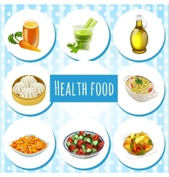 Health food eight icons of dishes and drinks vector